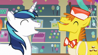 Shining Armor and Mr. Cake laughing S5E19