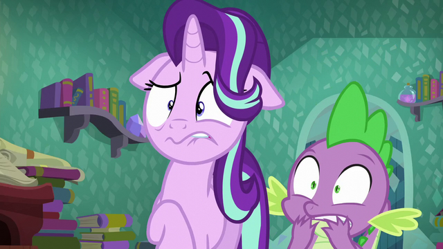 File:Starlight Glimmer and Spike shocked S6E2.png