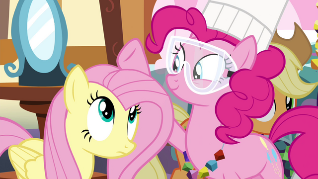 File:Pinkie Pie patting on Fluttershy's mane S4E18.png