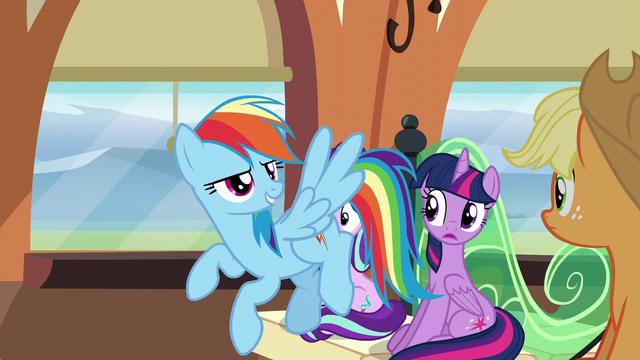 "File:Rainbow Dash ""it's no Cloudsdale mobile!"" S6E1.png"