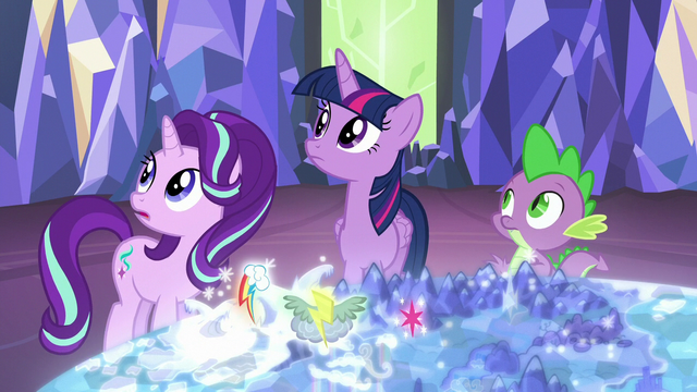 File:Twilight, Starlight, and Spike hear Rainbow Dash S6E24.png