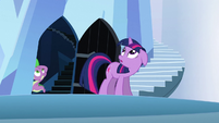 Twilight and Spike looking up at the tower S3E2