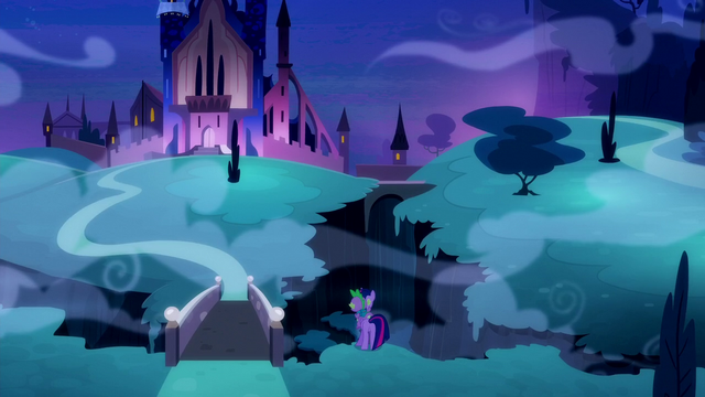 File:Twilight and Spike looks at the Castle of the Two Sisters S5E26.png