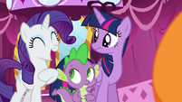 Twilight and Spike sees Rarity laughing S5E22