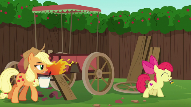 File:Apple Bloom with paint brush; AJ with paint remover S6E14.png