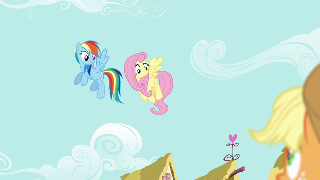 File:Fluttershy and Rainbow looking down at Applejack S6E11.png