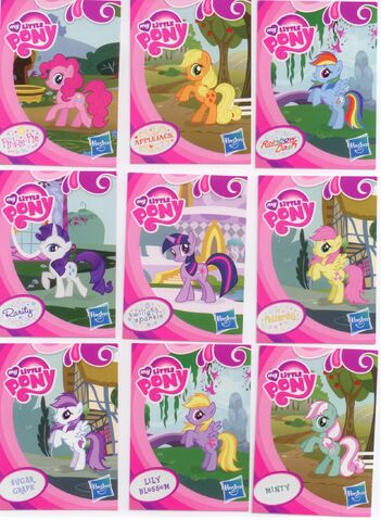 File:EU wave 1 mystery packs scans - Pinkie Pie, Applejack, Rainbow Dash, Rarity, Twilight Sparkle, Sugar Grape, Lily Blossom, Minty.jpg