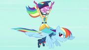 Human Rainbow flying on top of pony Rainbow EG3b.png