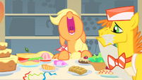 Mr. Cake cleaning the table just as Applejack is about to start eating S1E22