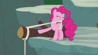 Pinkie Pie tying rope around a log S7E5