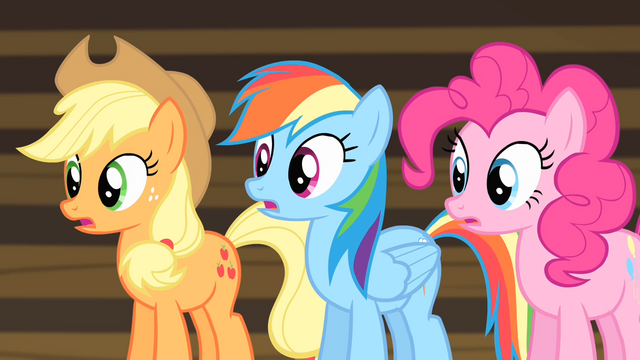 File:Rainbow, Applejack and Pinkie shocked S4E08.png