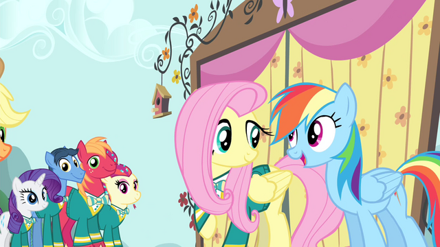 File:Rainbow Dash congratulates Fluttershy S4E14.png