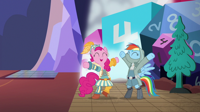 "File:Rainbow and Pinkie Pie cheer ""guys' night!"" S6E17.png"