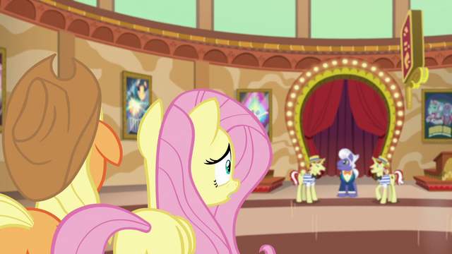 File:AJ and Fluttershy watch Flim and Flam argue S6E20.png