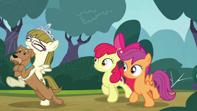 File:Apple Bloom and Scootaloo follow Zipporwhill and Ripley S7E6.png
