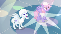 Rainbowshine and Foggy Fleece in awe of Rarity S1E16