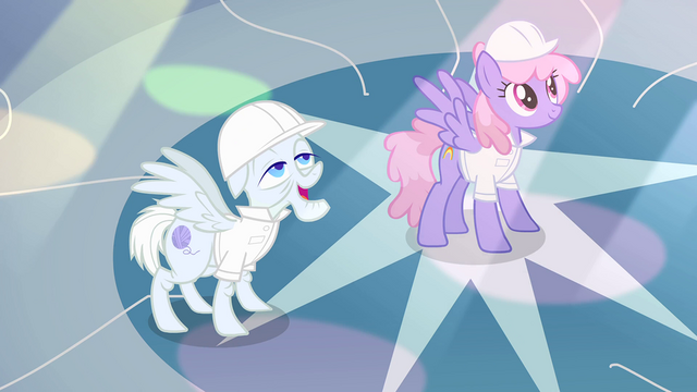 File:Rainbowshine and Foggy Fleece in awe of Rarity S1E16.png