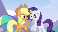 Applejack and Rarity getting Rainbow's bag ready S3E7