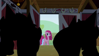 Pinkie Pie looks at her friends S1E25