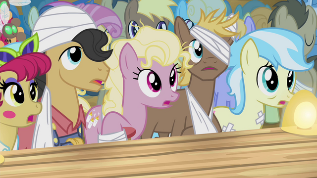 File:Sick ponies watch Silver Shill S4E20.png