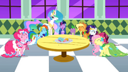 Main cast and Celestia laughing S1E26.png