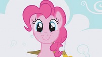 Pinkie Pie popping up through the cloud S01E05