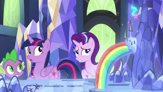 File:Twilight, Starlight, and Spike look back at the map S7E10.png