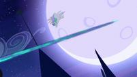 Princess Celestia dodging beam S4E02