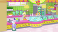 Applejack flipping cups at her juice bar SS9.png