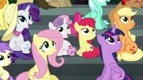 Main ponies looking to the sky S6E7