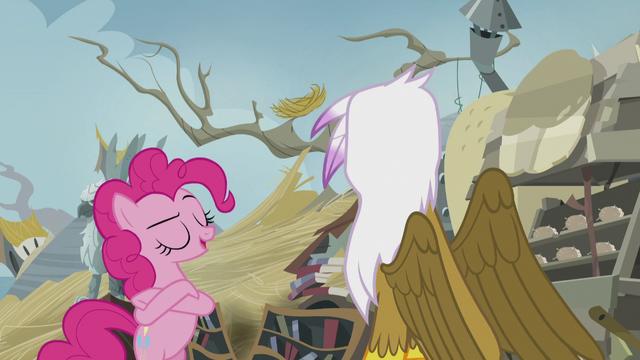"File:Pinkie ""You may act like a gruff, grumbling griffon"" S5E8.png"