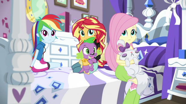 File:Rainbow, Sunset, and Fluttershy listen to Rarity EGS1.png