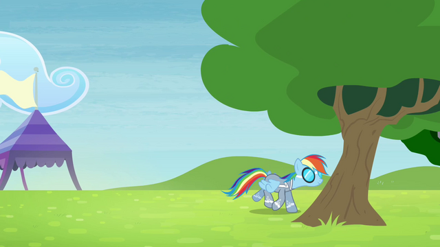 File:Rainbow walking towards behind the tree S4E10.png