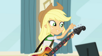 Applejack tuning her bass guitar EG2