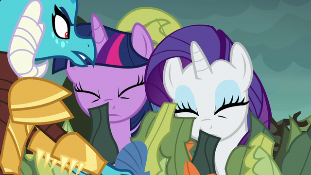 File:Ember removes Twilight and Rarity's disguise S6E5.png