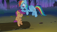 Rainbow Dash gives Scootaloo a noogie S3E6