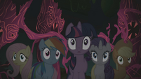 Twilight and friends surprised by Pinkie's laughing S1E02