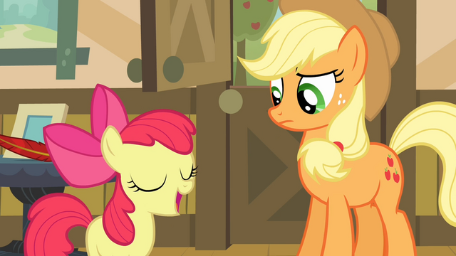 File:Apple Bloom 'I'm good at makin' things sound excitin' S4E09.png