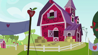 Apple Bloom peeking from behind hay bales S3E08