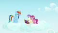 Rainbow with her fans Princess Erroria and Ruby Pinch S7E14.png