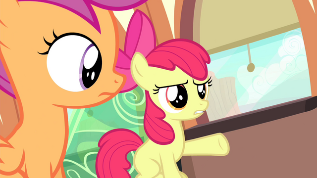 "File:Apple Bloom ""don't you listen to her music?"" S4E19.png"