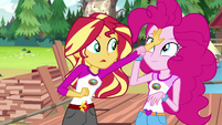 Pinkie puts Sunset's hand on her forehead EG4