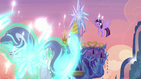 Starlight teleports into the sky over Ponyville S6E21