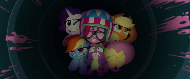 File:Main five and Spike inside the party cannon MLPTM.png