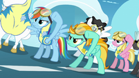 Rainbow Dash and Lightning Dust putting goggles on S3E7