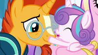 Flurry Heart touches Sunburst's muzzle S6E2