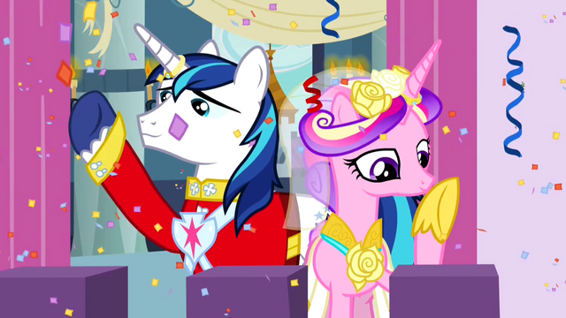 File:Princess Cadance and Shining Armor on balcony S2E26.png