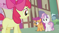 Apple Bloom apologizing to Scootaloo and Sweetie Belle S2E06.png