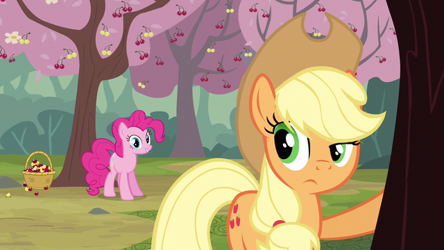 File:Pinkie Pie starts to bug Applejack with cherry changa S2E14.png