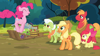 The Apples looking at Pinkie hopping S4E09